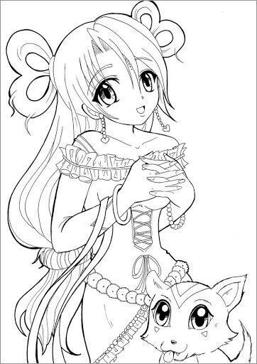 Desenhos de Anime Menina E Cachorro para colorir