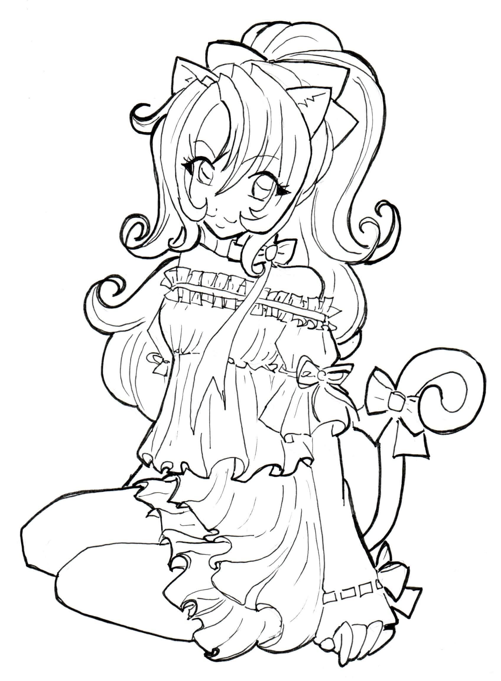 Desenhos de Anime Menina Gato para colorir