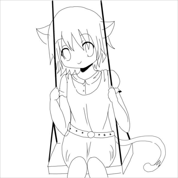 Desenhos de Anime Menina Neko para colorir