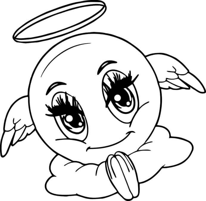 Desenhos de Anjo Emoji para colorir