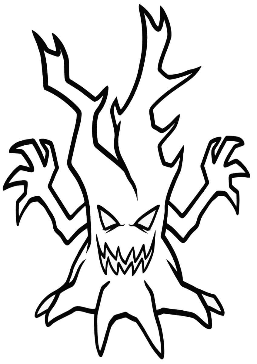 Desenhos de Árvore Assustadora para colorir