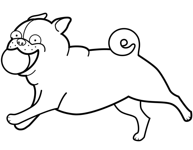 Desenhos de Bola De Jogo Pug Engraçada para colorir
