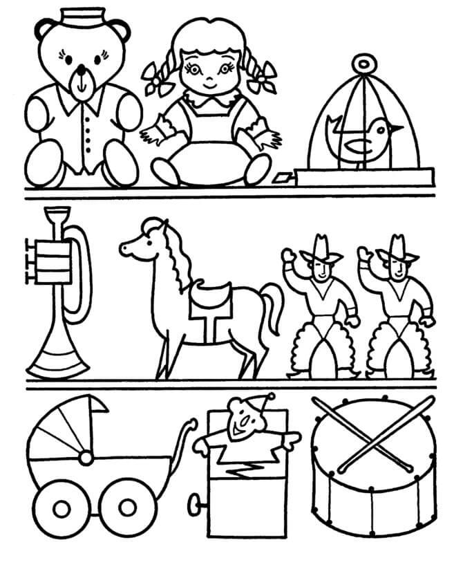 Desenhos de Brinquedos Nas Prateleiras para colorir