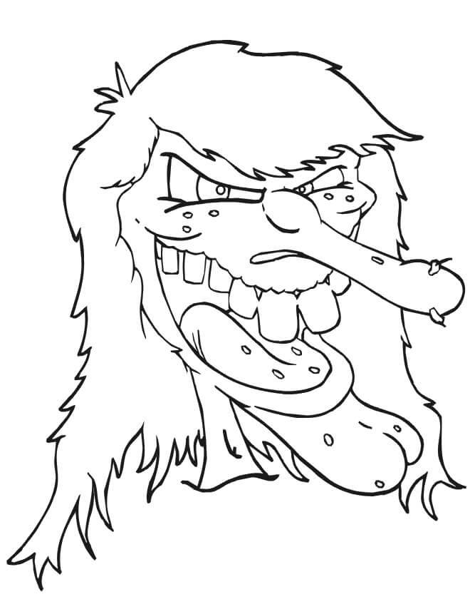 Desenhos de Bruxa Assustadora para colorir