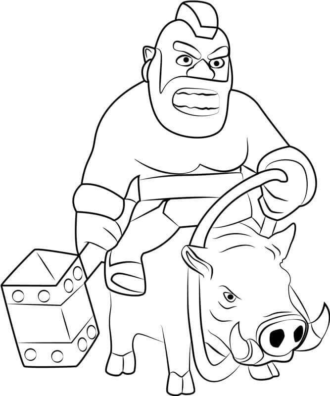 Desenhos de Cavaleiro De Porco Cavalgando Javali para colorir