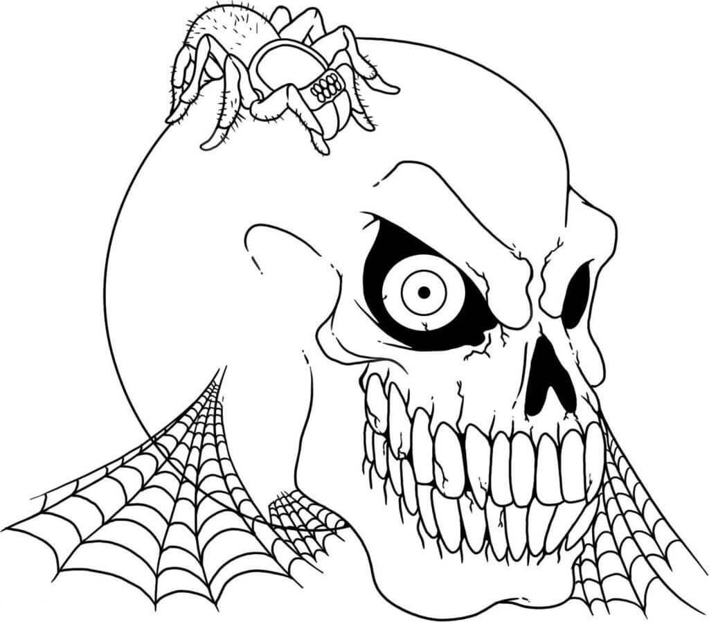 Desenhos de Caveira Com Aranha Na Cabeça para colorir