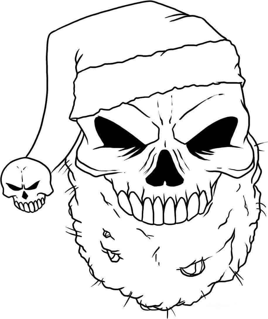 Desenhos de Caveira De Papai Noel para colorir