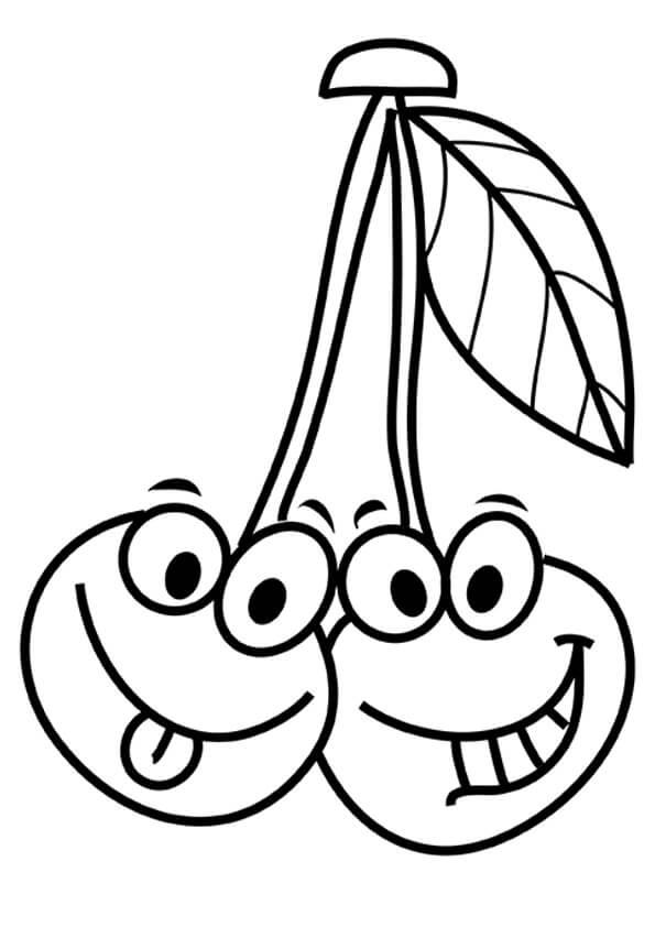 Desenhos de Cereja De Desenho Animado Sorridente para colorir
