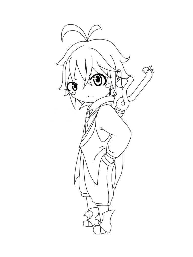 Desenhos de Chibi Bonitinho Meliodas para colorir