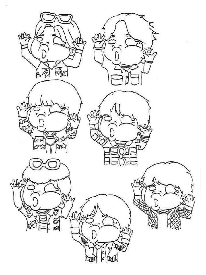 Desenhos de Chibi BTS Engraçado para colorir