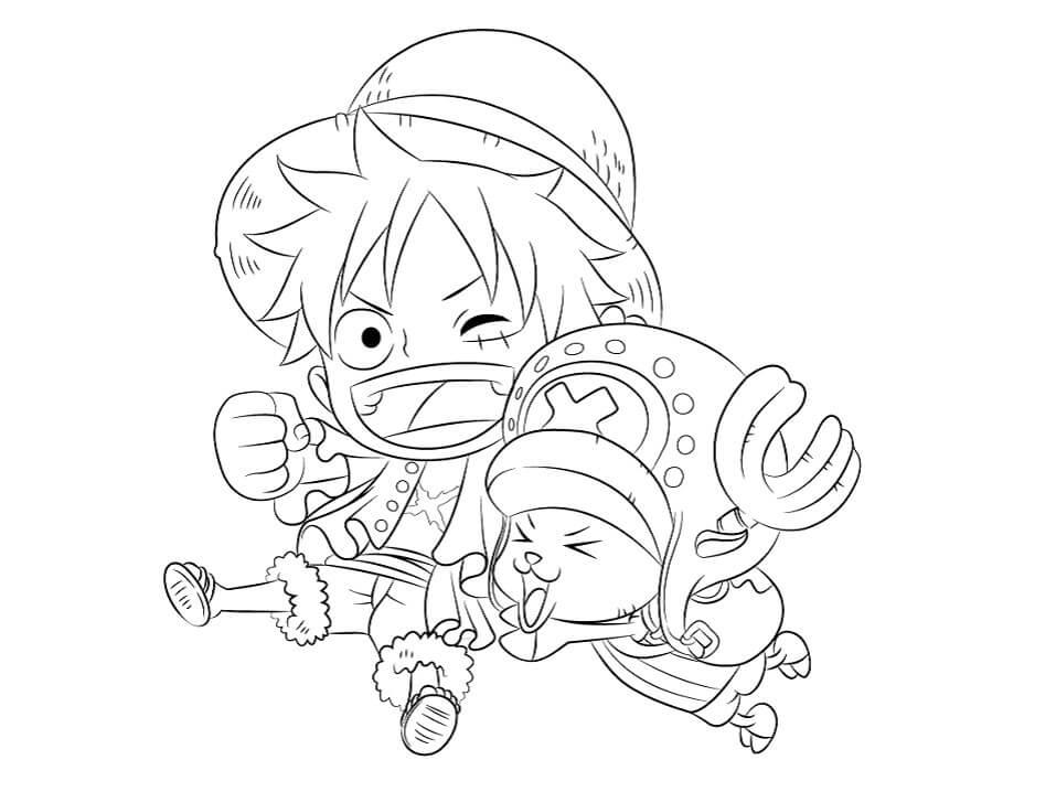 Desenhos de Chibi Luffy E Chopper para colorir