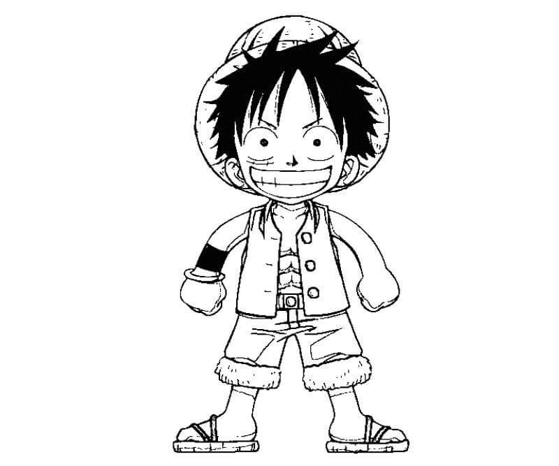 Desenhos de Chibi Luffy Engraçado para colorir