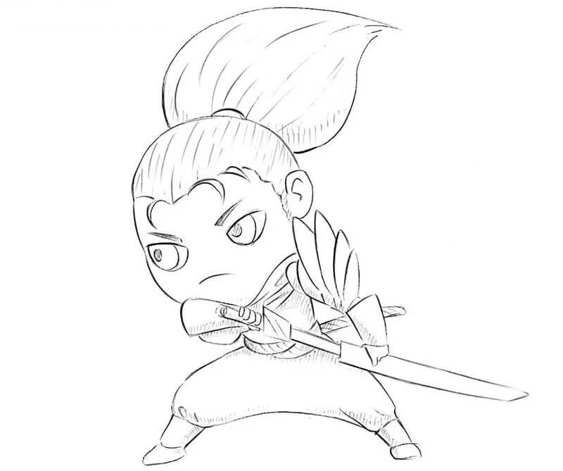 Desenhos de Chibi Yasuo Bonitinho para colorir
