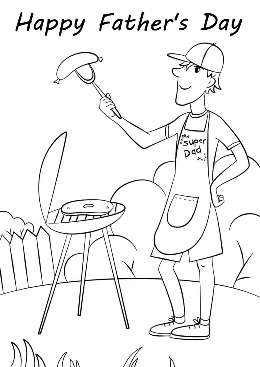 Desenhos de Churrasco Do Dia Dos Pais para colorir