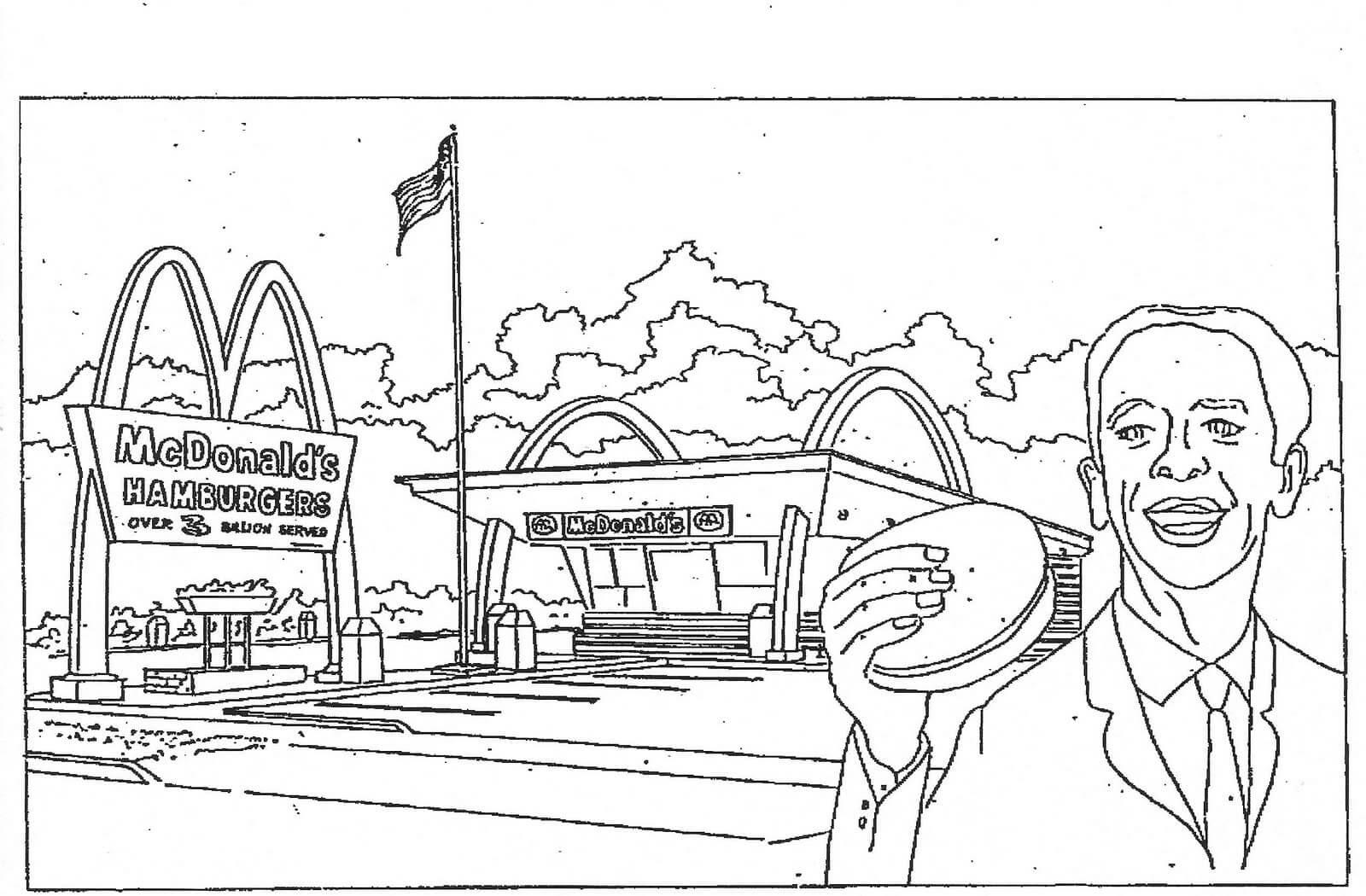 Desenhos de Comida Fofa Do McDonald para colorir