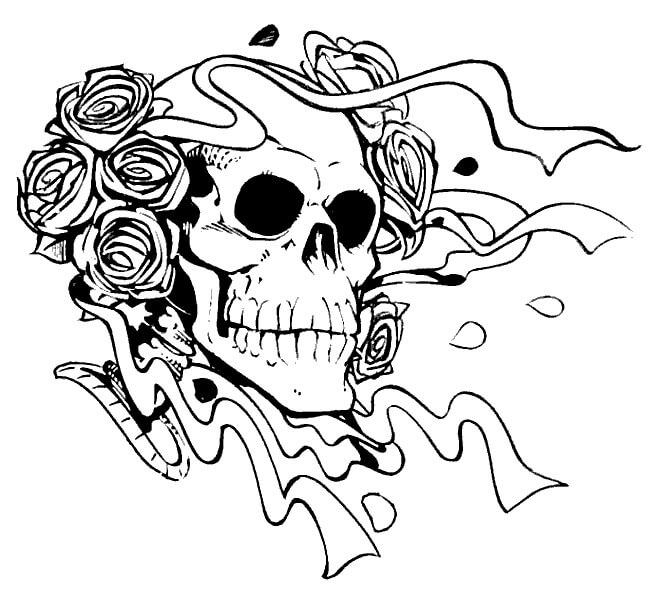 Desenhos de Crânio Assustador Com Rosas para colorir