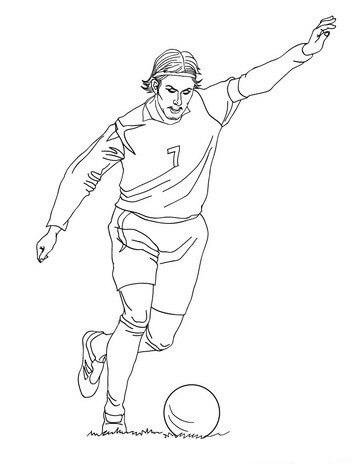 Desenhos de David Beckham Jogando Futebol para colorir