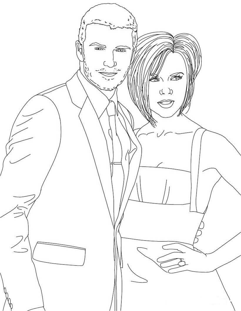 Desenhos de David E Victoria Beckham para colorir