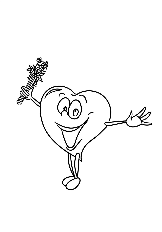 Desenhos de Desenho Animado Coração Feliz para colorir