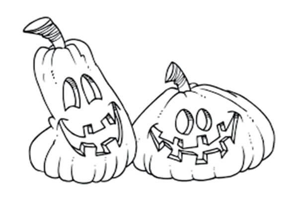 Desenhos de Dois Jack o 'Lantern para colorir