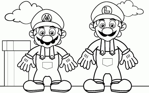 Desenhos de Dois Mario para colorir
