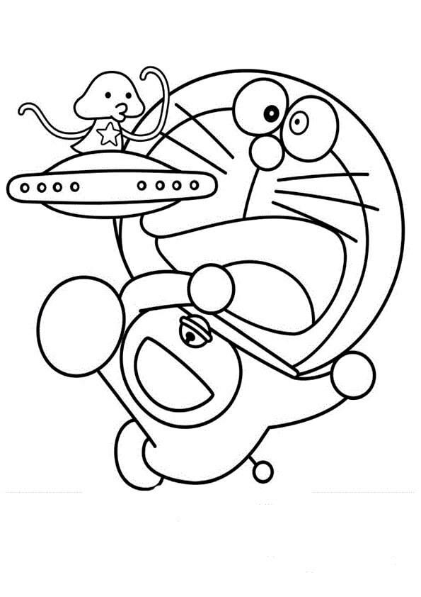 Desenhos de Doremon E OVNI para colorir
