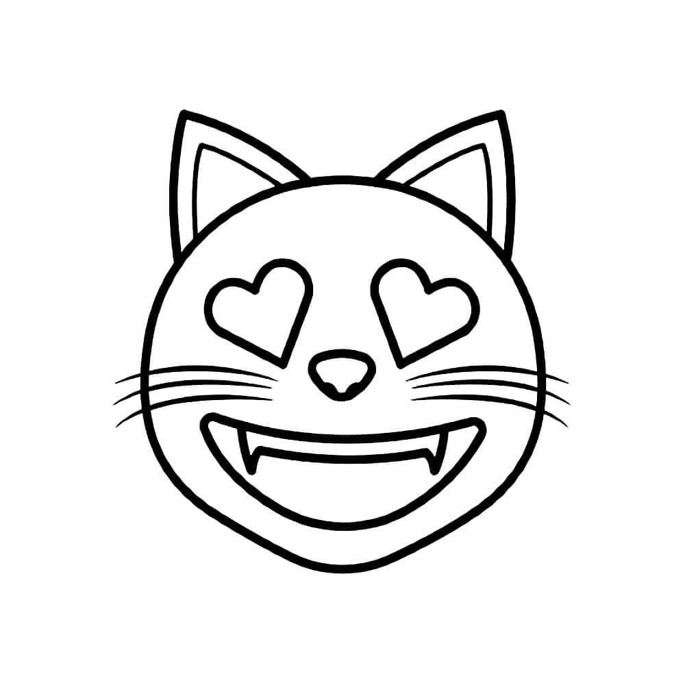 Desenhos de Emoji De Gato Engraçado para colorir