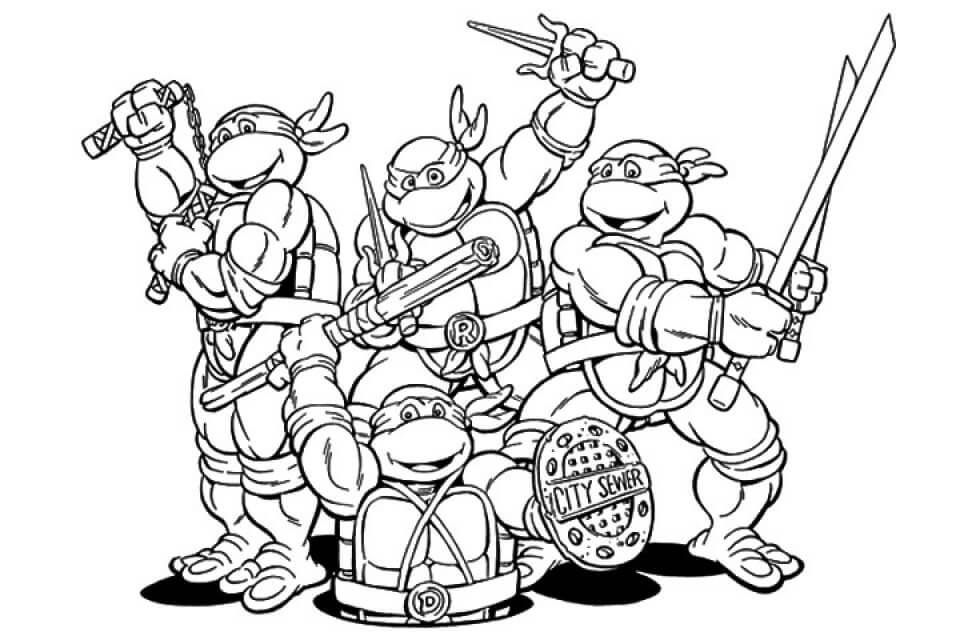 Desenhos de Equipe Tartarugas Ninja para colorir