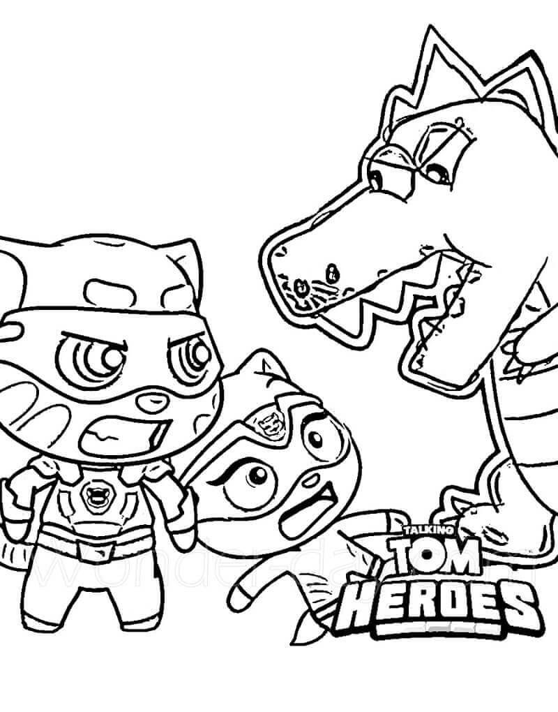 Desenhos de Falando Tom E Angela VS Monstro para colorir