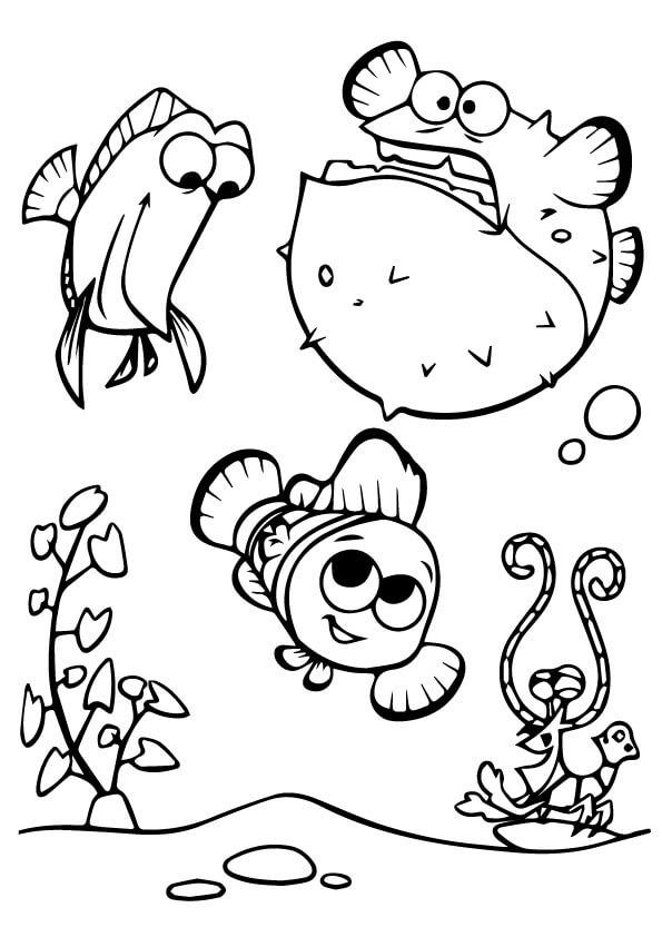 Desenhos de Feliz Nemo Com Amigos para colorir