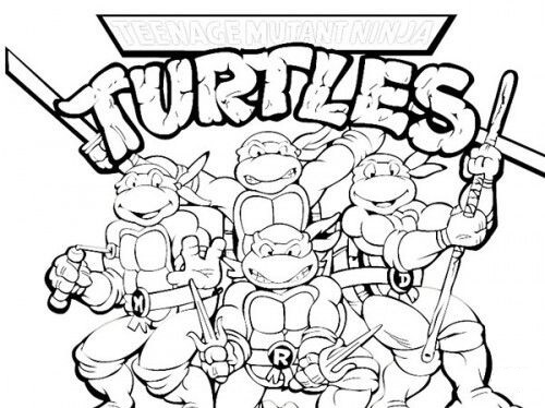 Desenhos de Felizes Tartarugas Ninja Mutantes para colorir