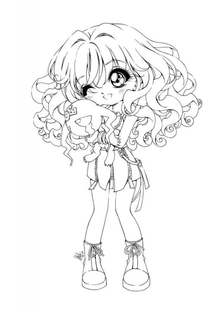 Desenhos de Garota Anime Engraçada para colorir