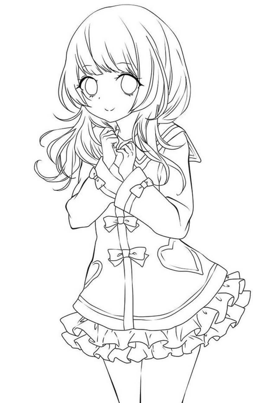 Desenhos de Garota Anime Fofa para colorir