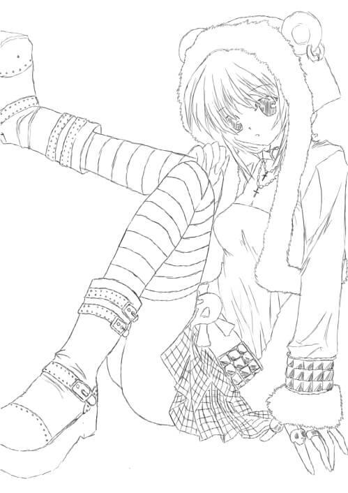 Desenhos de Garota Anime Sentada para colorir