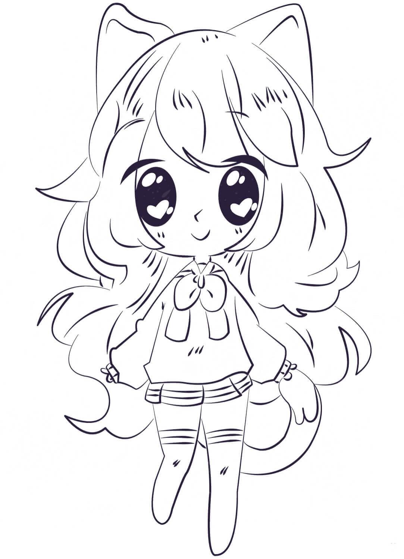 Desenhos de Garota Anime Sorrindo para colorir