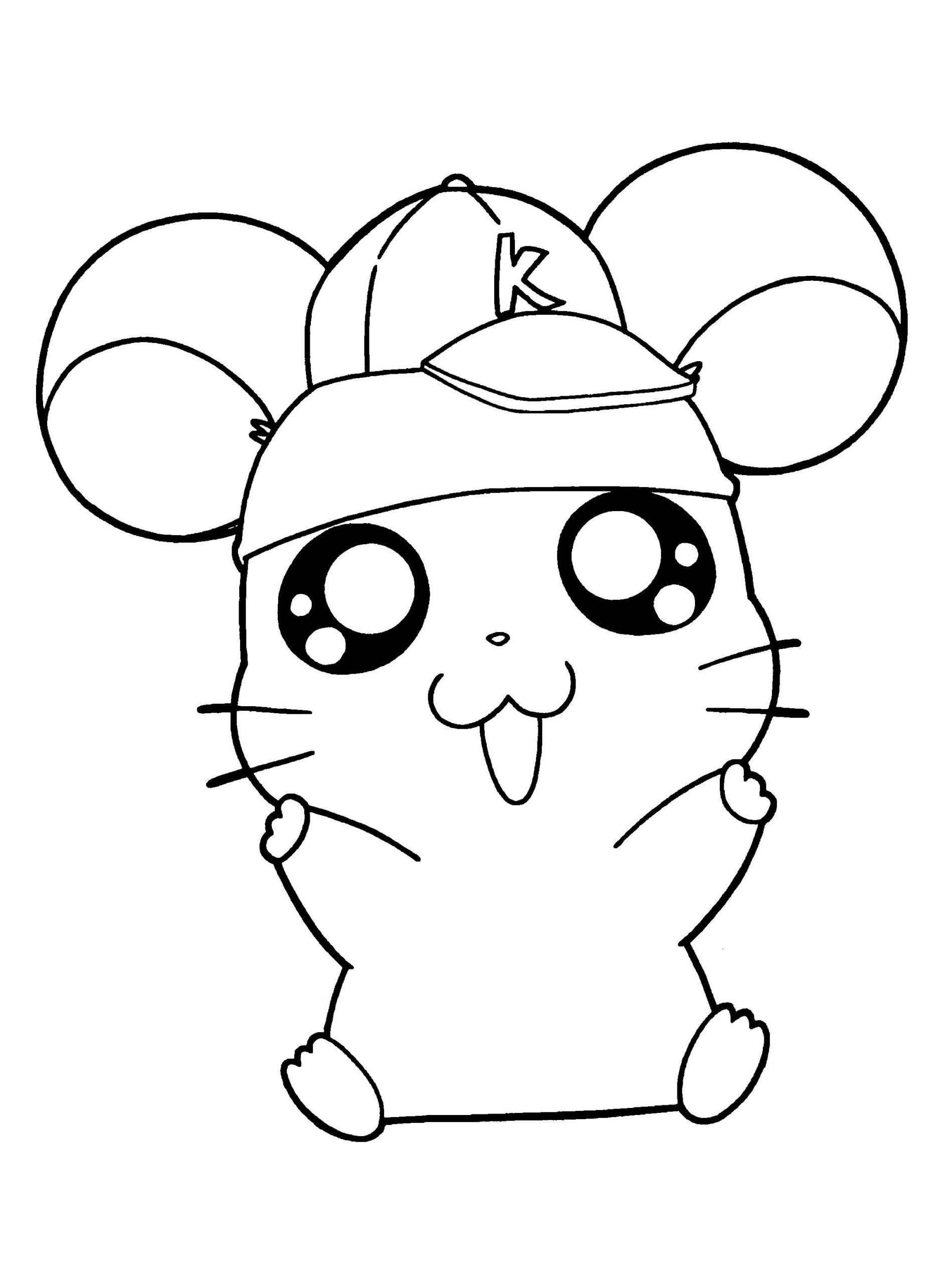 Desenhos de Hamster Com Chapéu para colorir