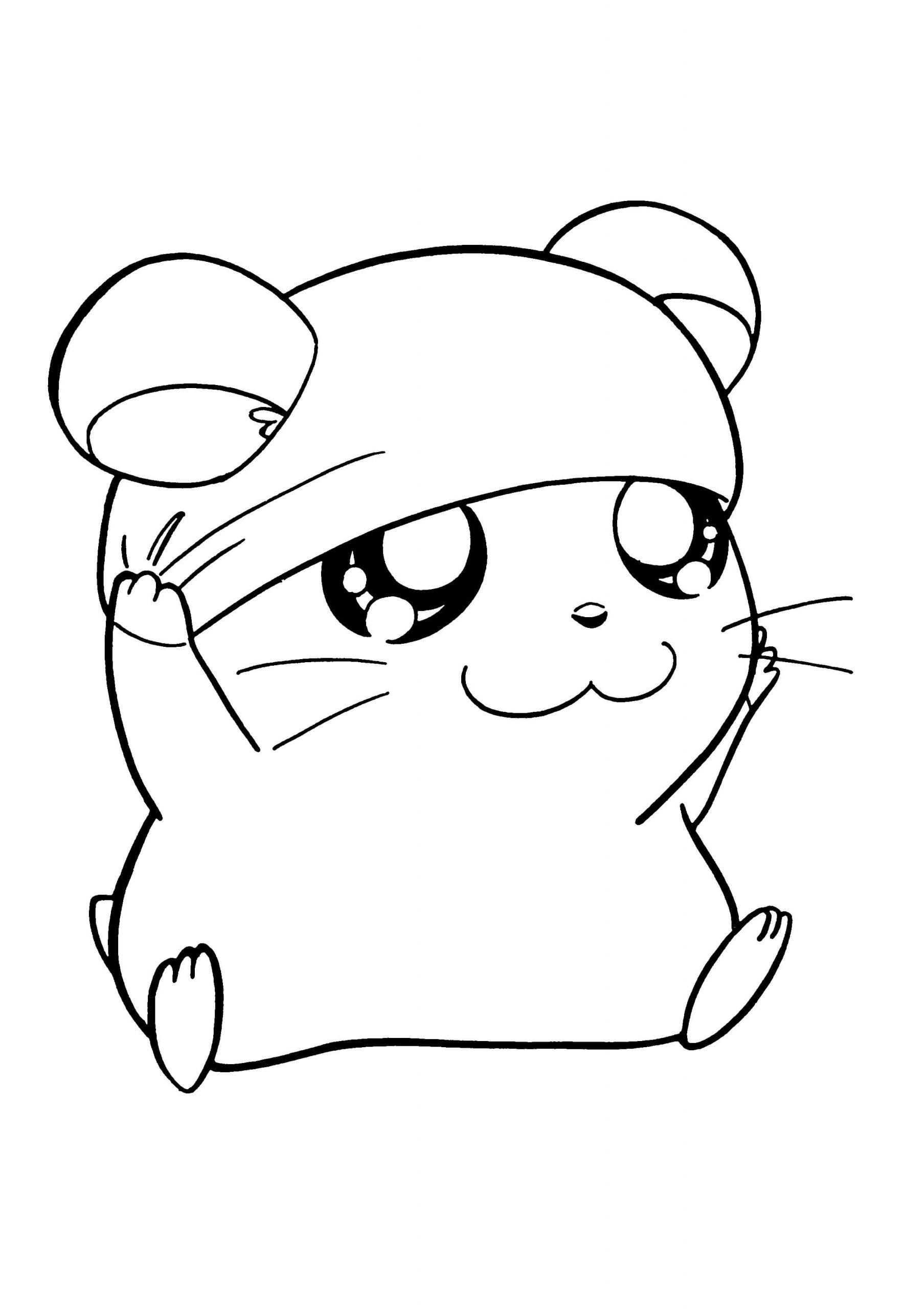 Desenhos de Hamster Fofo Sorrindo para colorir