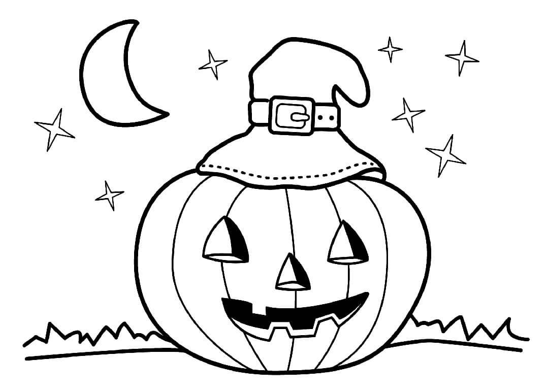 Desenhos de Jack o 'Lantern Com Chapéu De Bruxa para colorir