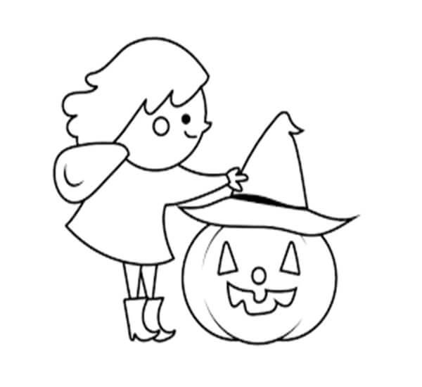 Desenhos de Jack o 'Lantern Com Uma Garota para colorir