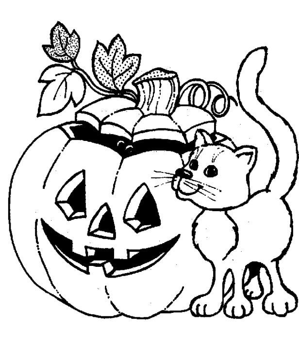 Desenhos de Jack o' Lantern E Gato para colorir