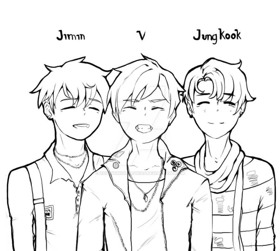 Desenhos de Jimin, V E Jungkook para colorir