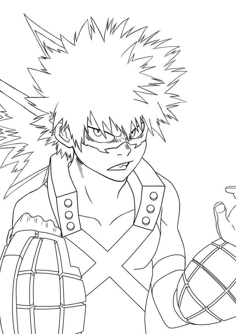 Desenhos de Katsuki Bakugo Nervoso para colorir