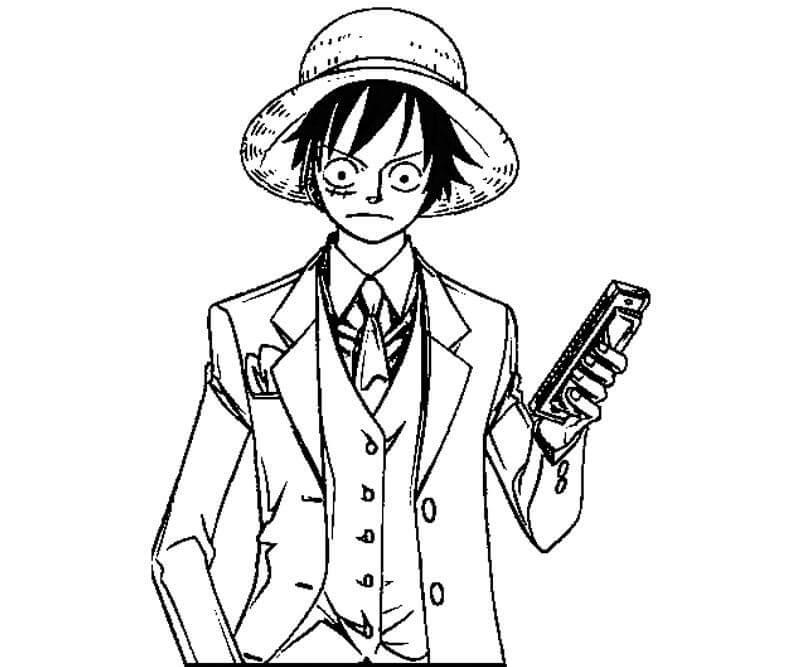 Desenhos de Luffy Romântico para colorir
