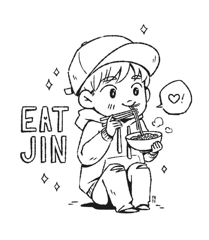 Desenhos de Macarrão Chibi Jin para colorir