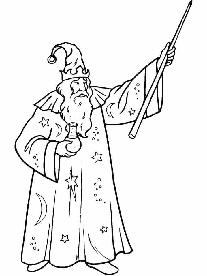 Desenhos de Mago Velho para colorir