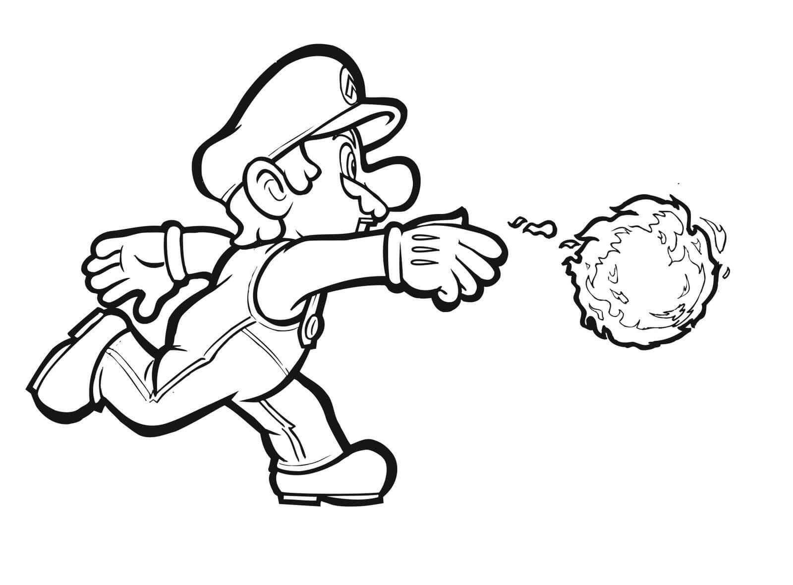 Desenhos de Mario Com Fogo para colorir
