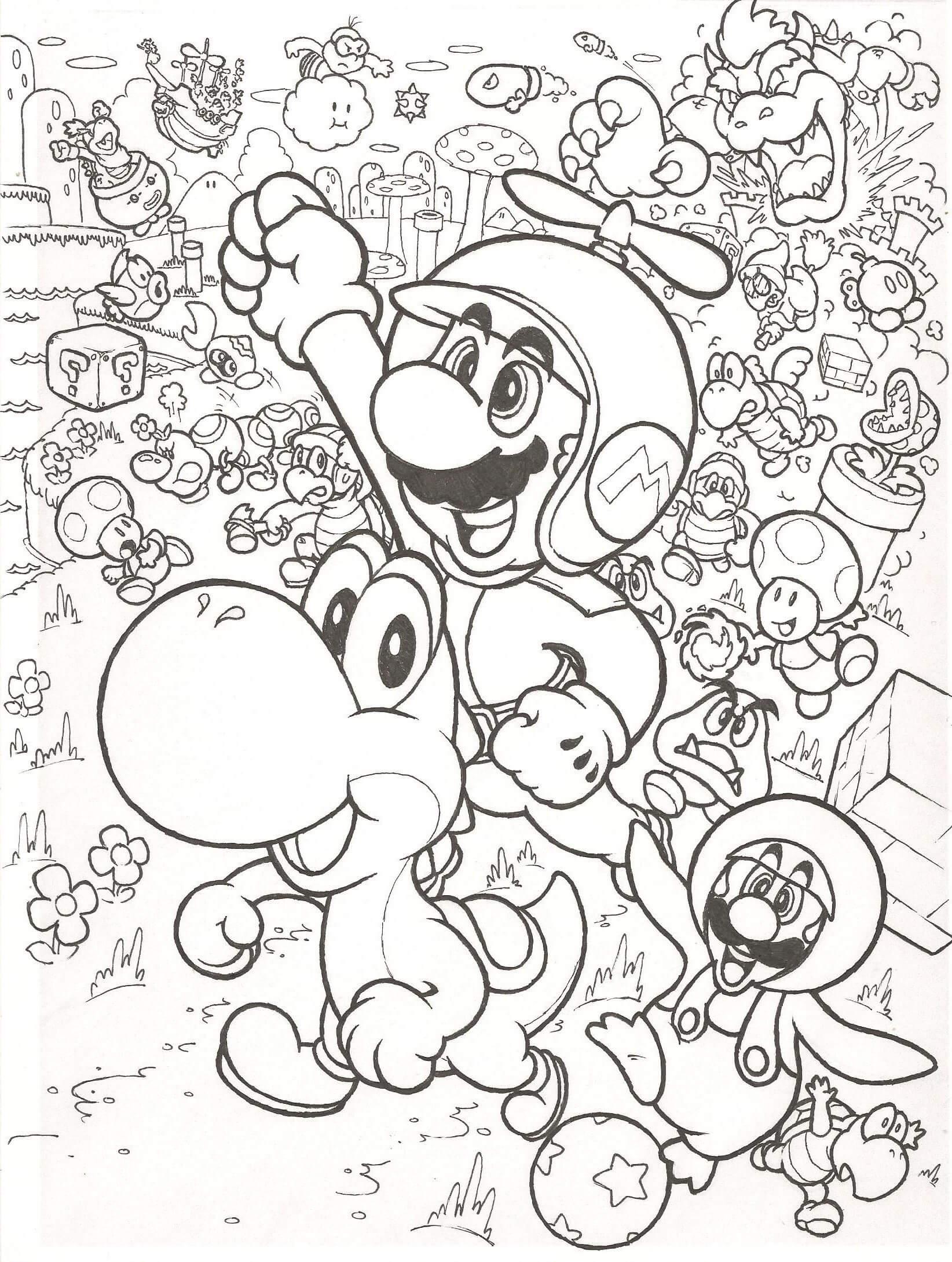 Desenhos de Mario Voando para colorir