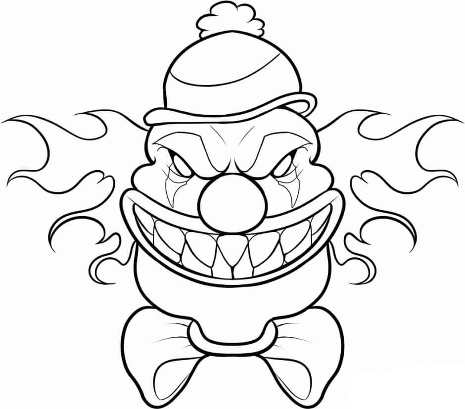 Desenhos de Máscara De Palhaço Assustador para colorir