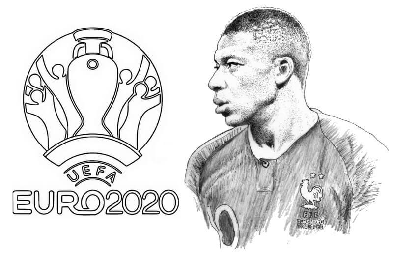 Desenhos de Mbappe E A Eurocup para colorir