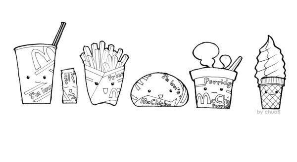 Desenhos de McDonald Comida Chibi para colorir